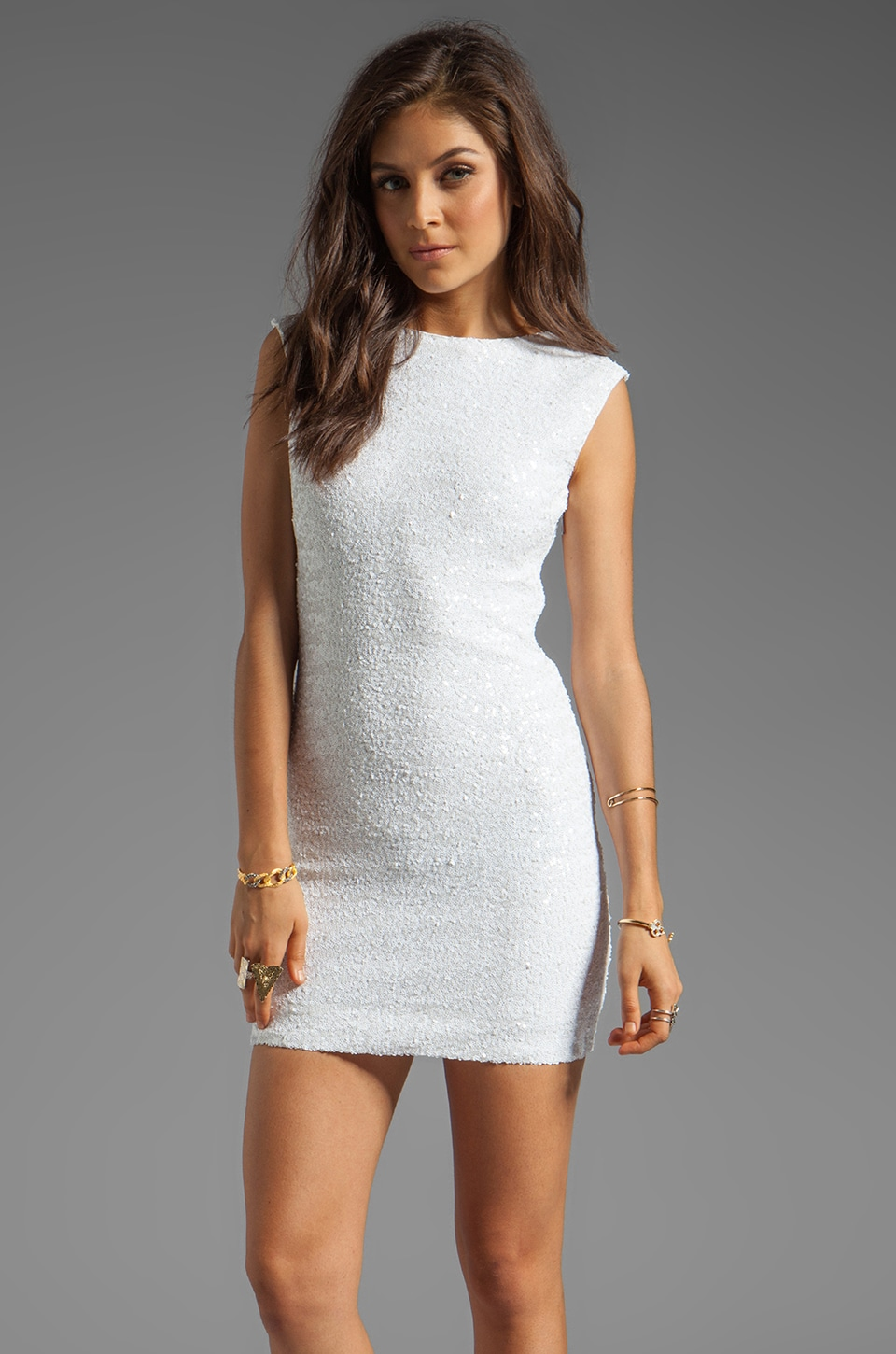 Bardot Sequin Disco Dress in White