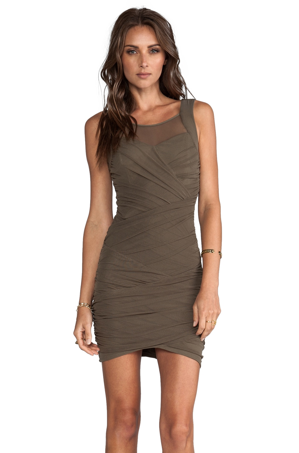 Bardot Saturn Wrap Dress in Khaki