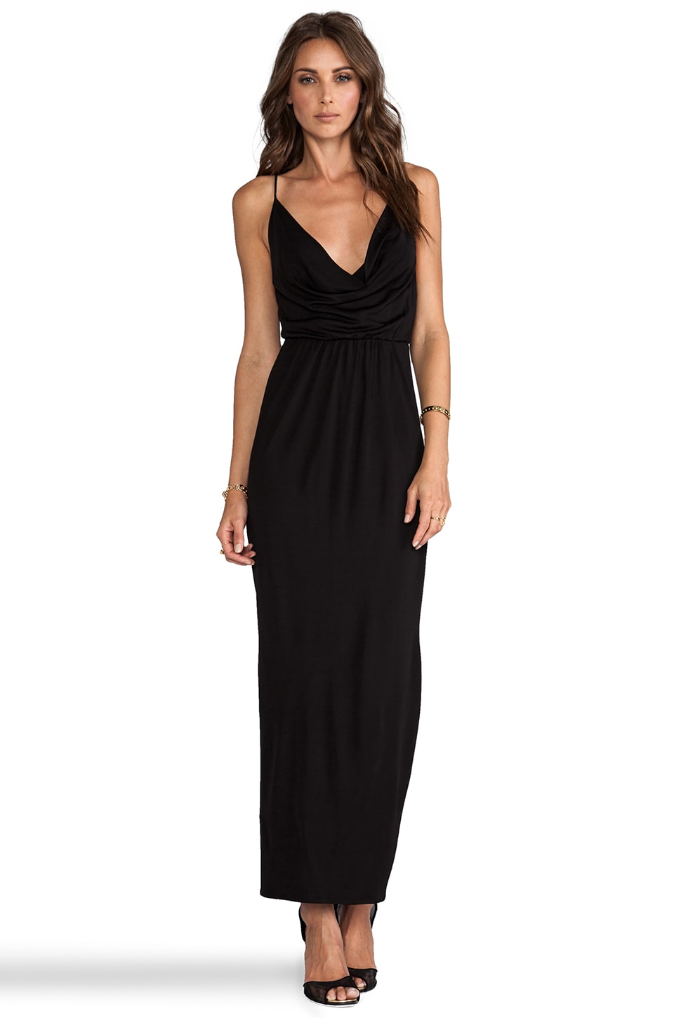 Bardot Cowl Maxi Dress en Noir