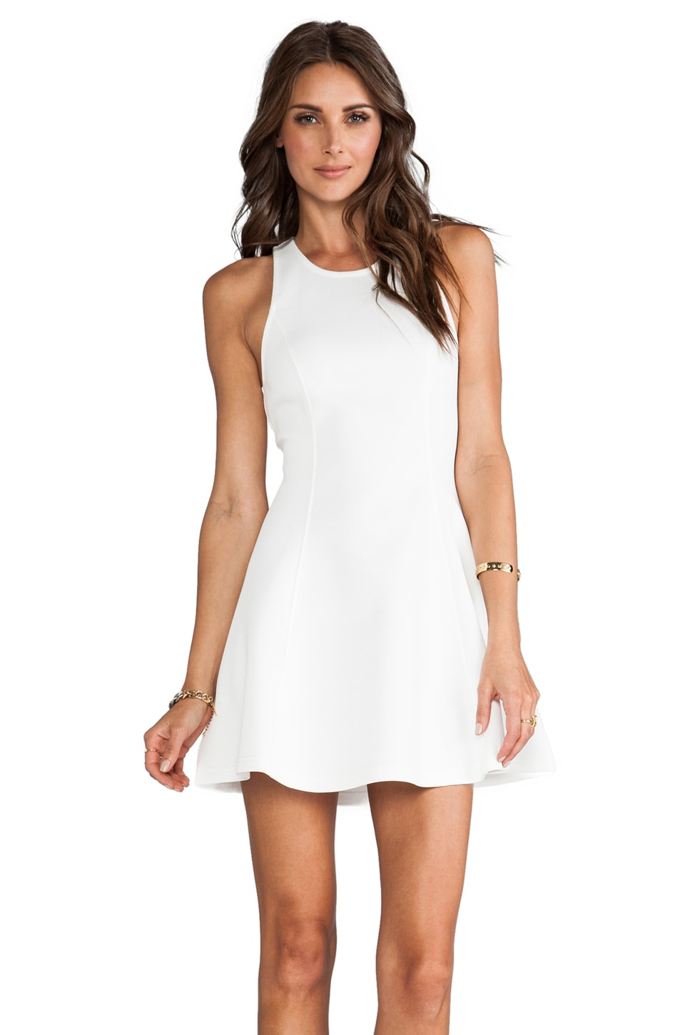 Bardot Scuba Skater Dress in White