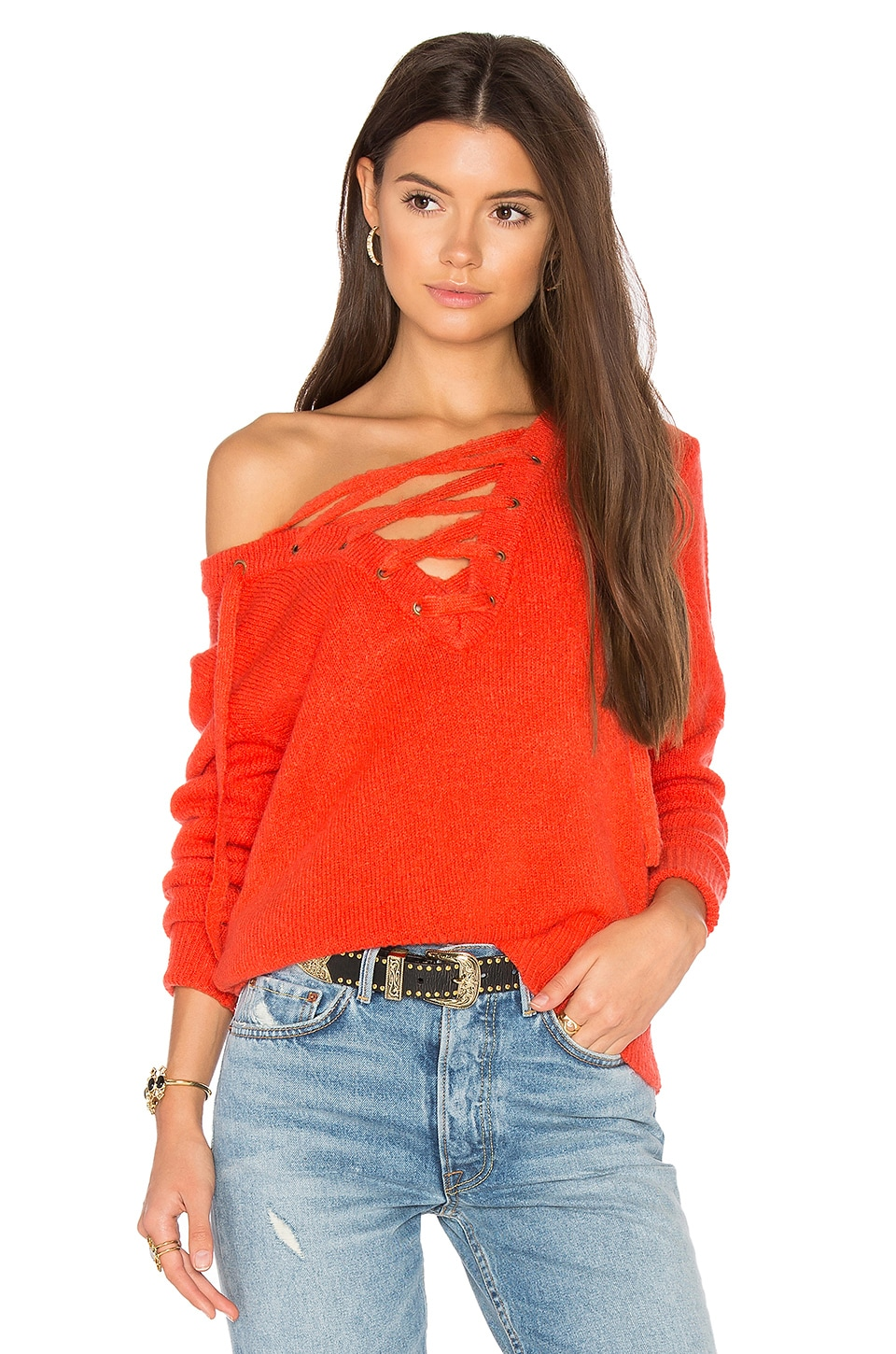 Bardot Criss Cross Sweater in Pimento