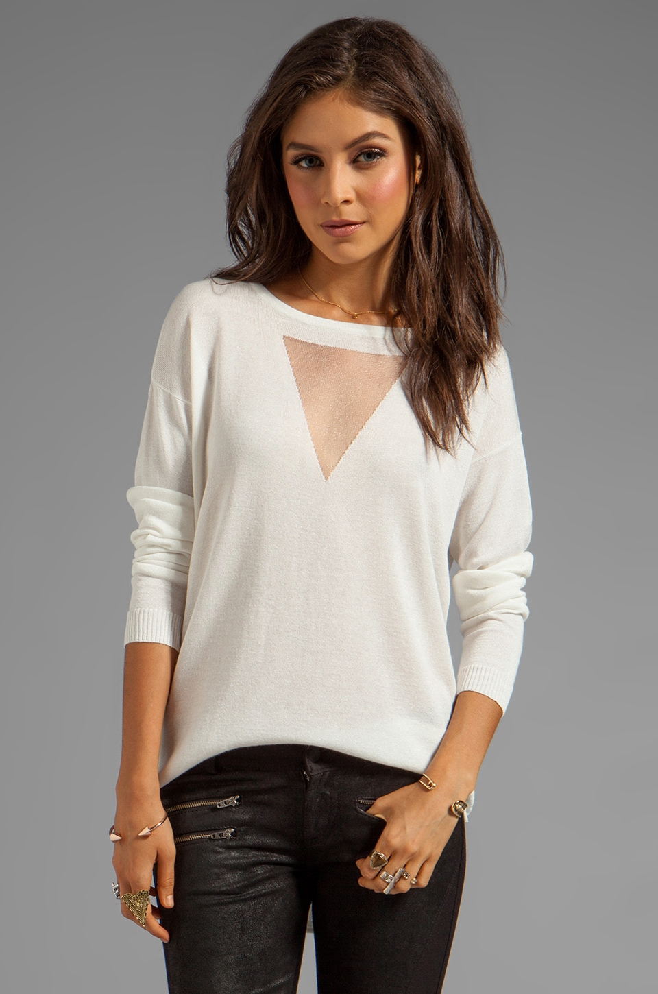 Bardot Jaxon Lurex Jumper in Ivory