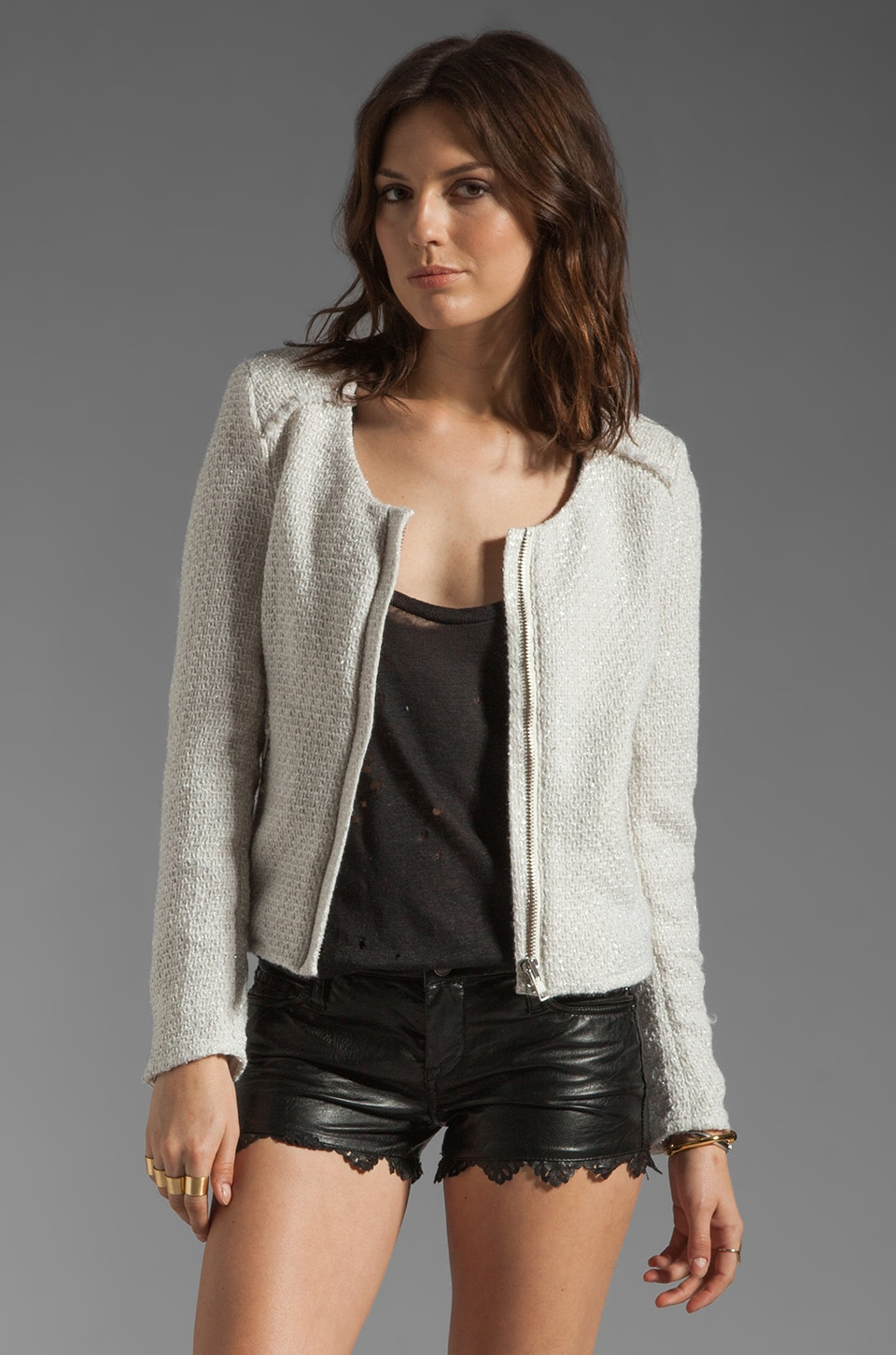 Bardot Frayed Boucle Jacket in Cream