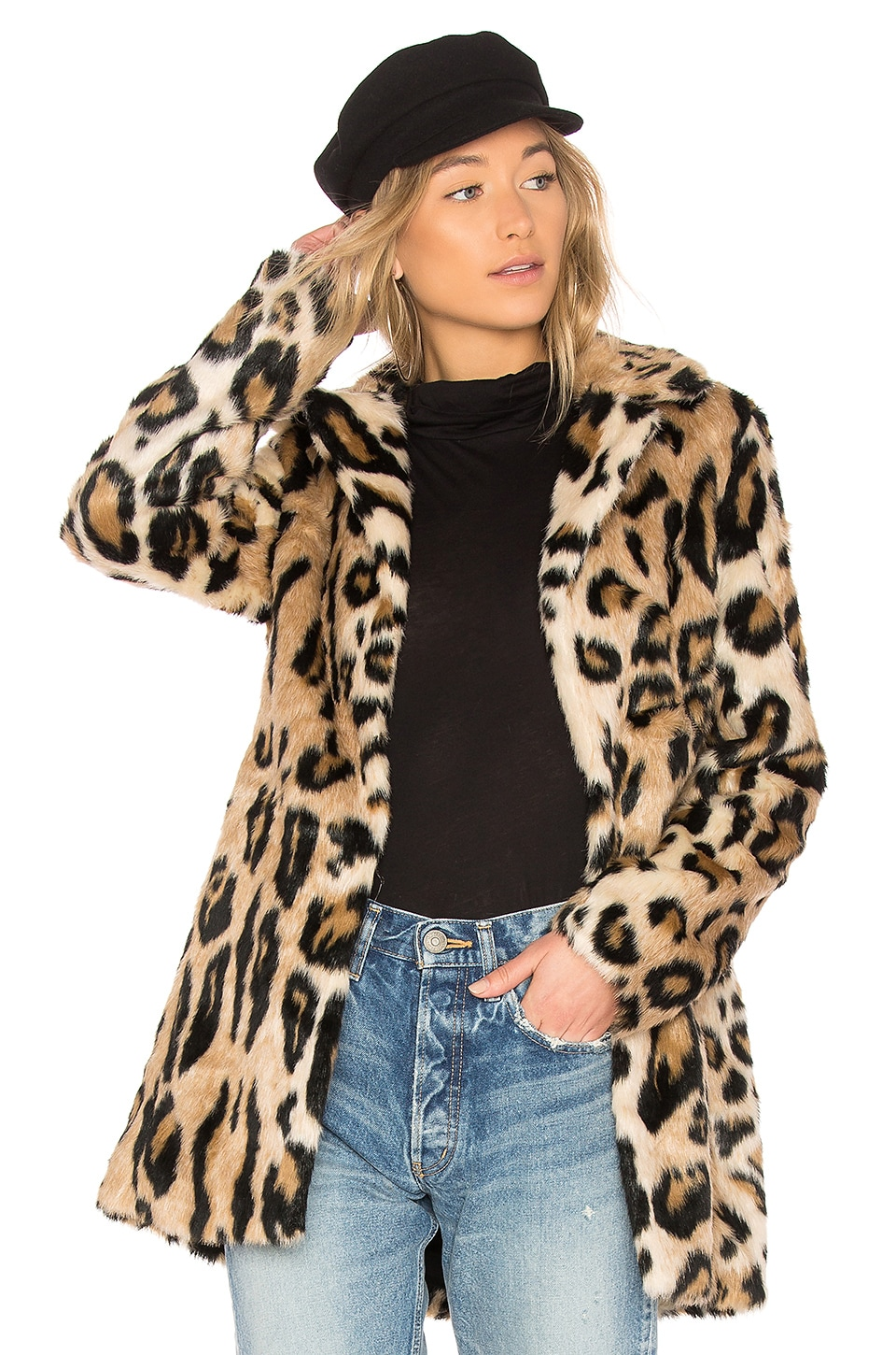 Bardot Faux Fur Coat in Leopard