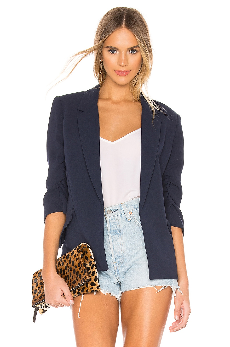 Bardot Tuck Sleeve Blazer in French Navy