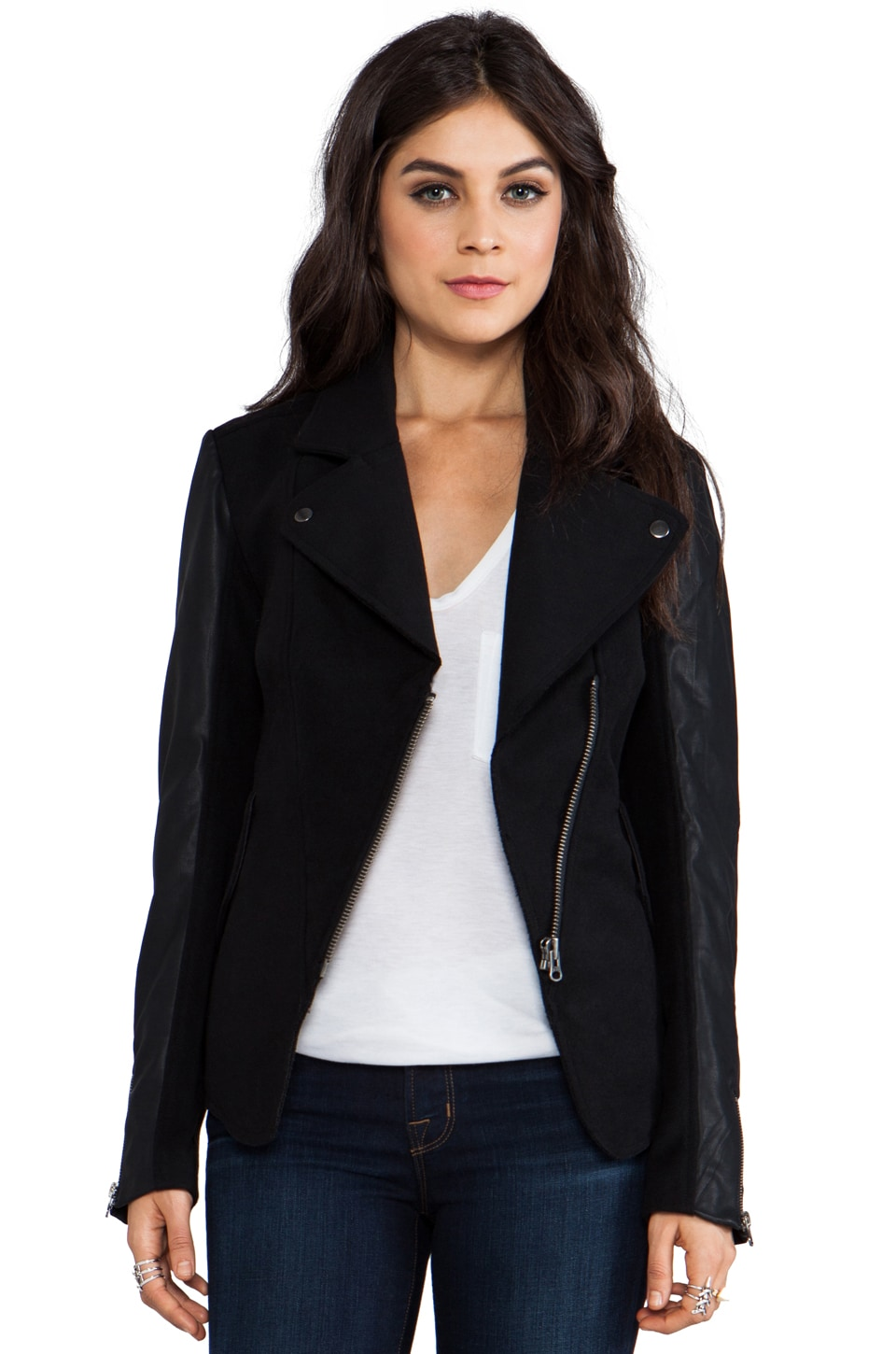 Bardot Seamed Biker Jacket in Black