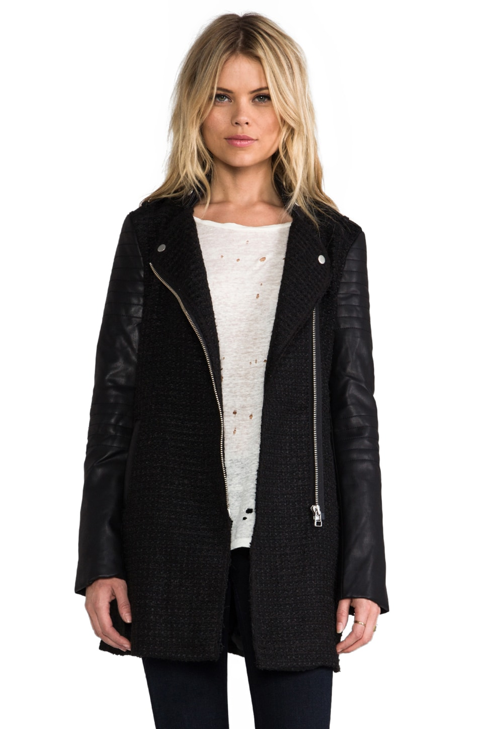 Bardot Textured Biker Coat in Black