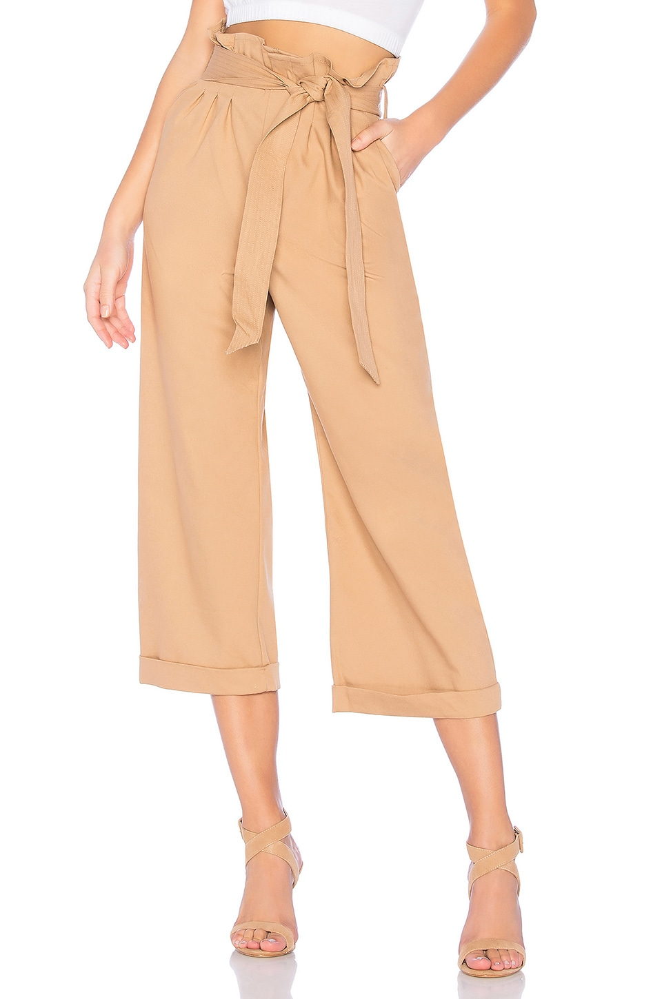 Bardot Sandy Crop Pant in Tan