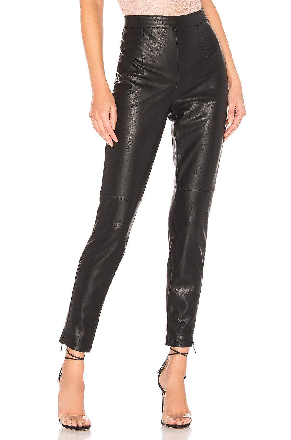 Bardot Faux Leather Tailored Pant in Black