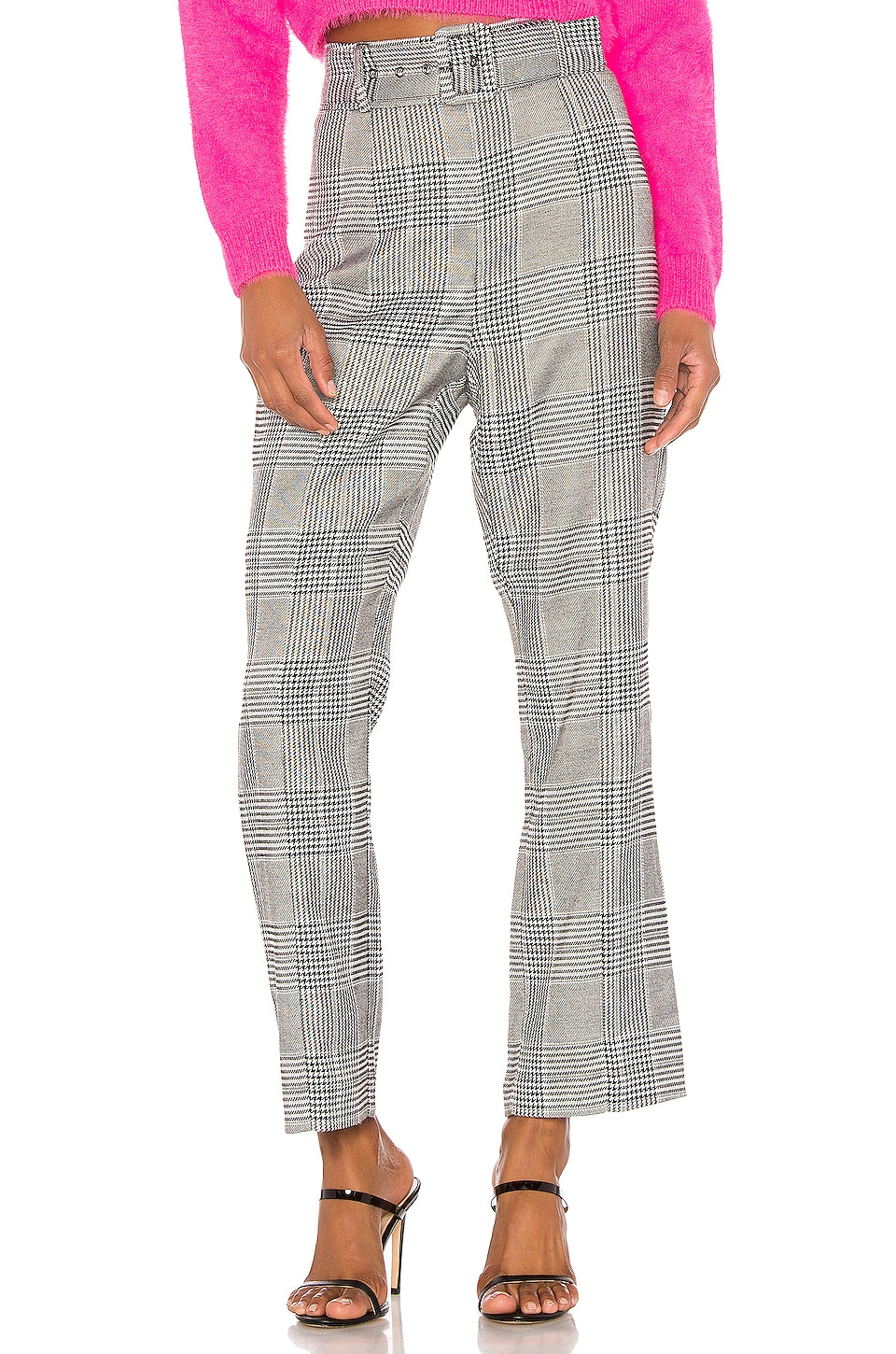 Bardot Belted Check Pant in Monochrome Check