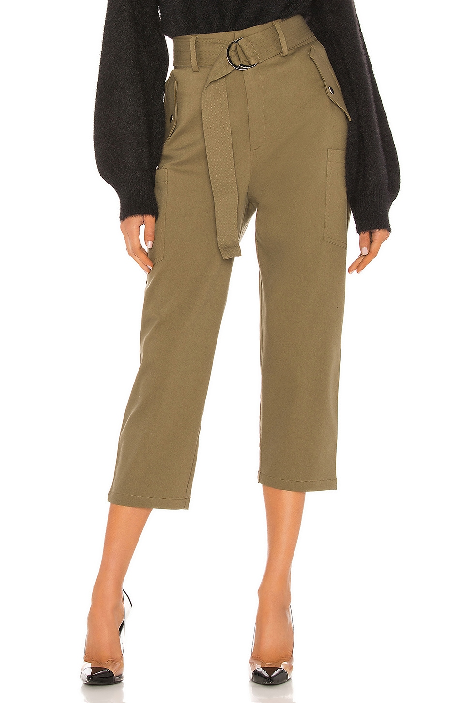 Bardot Cargo Belt Pant in Army Green