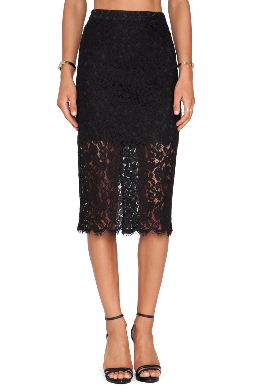 Bardot Sienna Lace Midi Skirt in Black