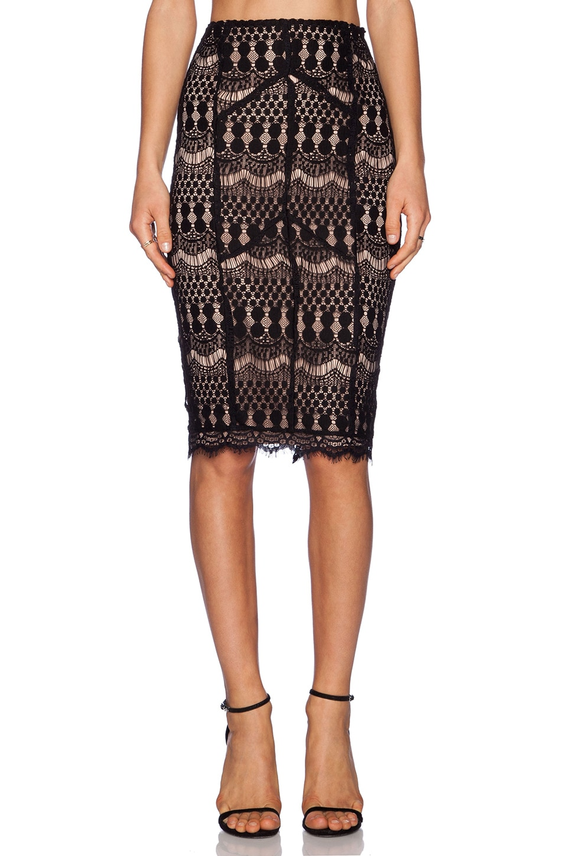 Bardot Lace Midi Skirt in Black