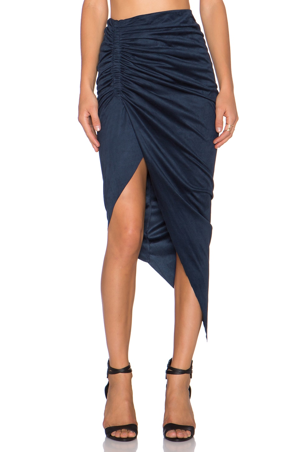 Bardot Sueded Ruched Skirt in Navy