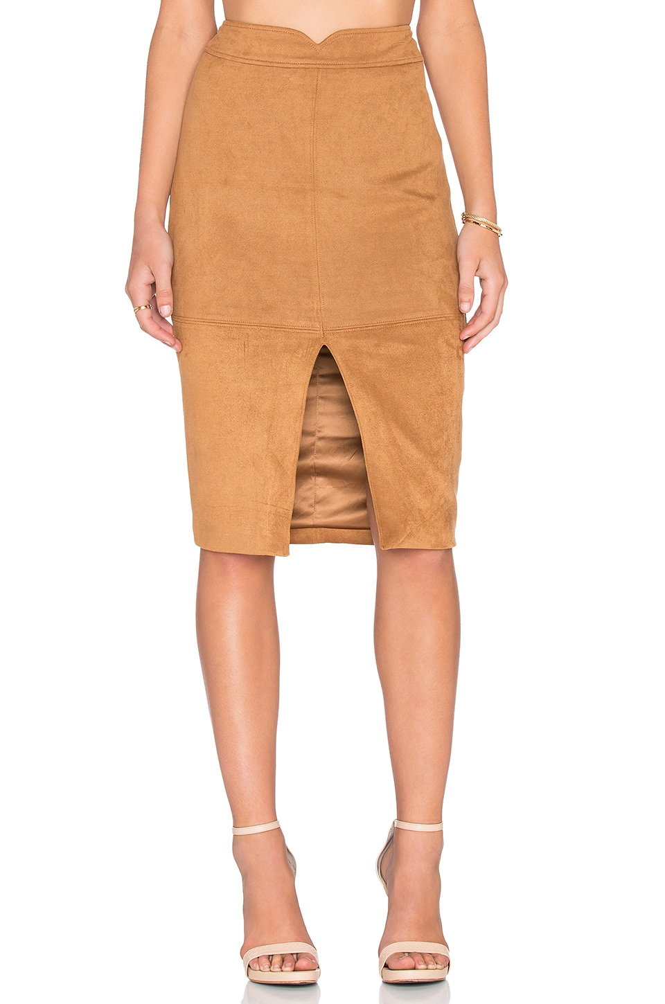 Bardot Sueded Midi Skirt in Cinnamon