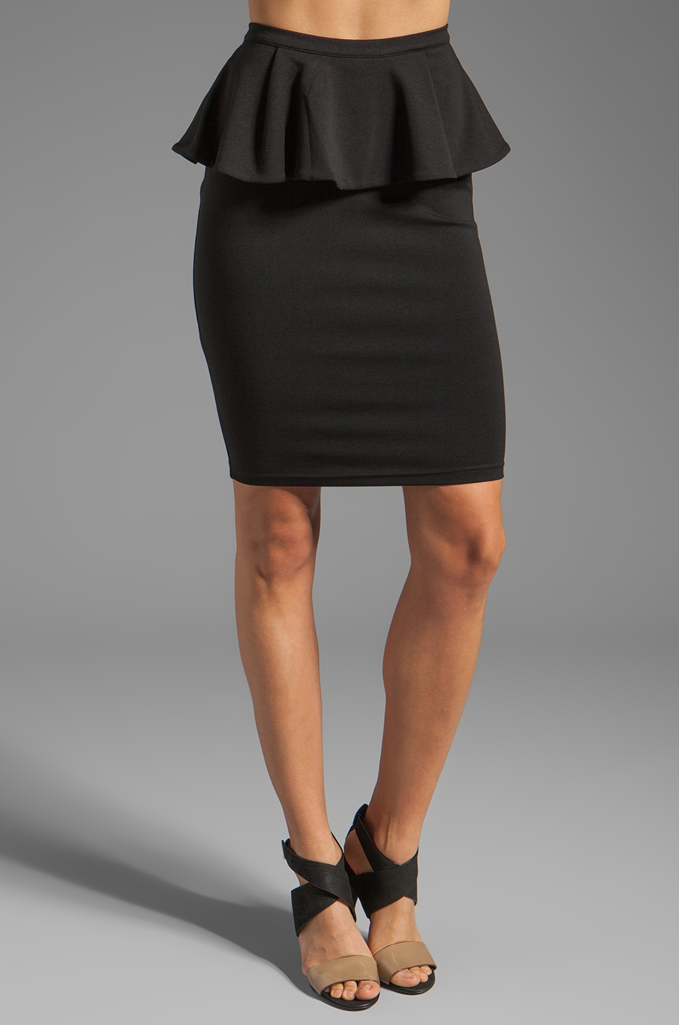 Bardot Peplum Pencil Skirt in Black