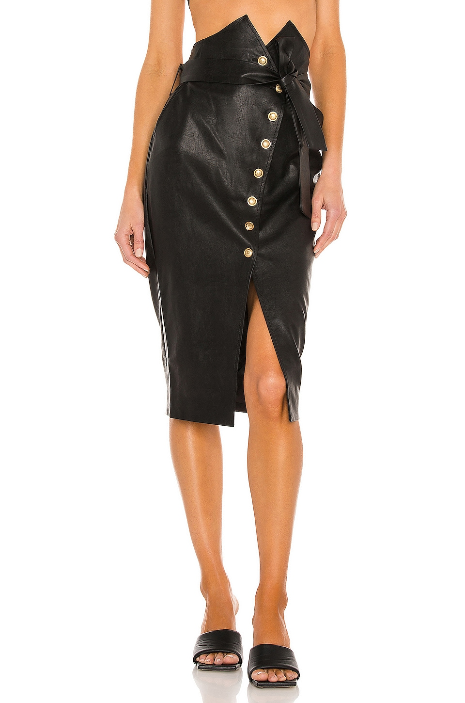 Bardot Tie Waist Skirt in Black