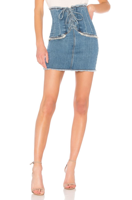 Bardot x REVOLVE Corset Denim Skirt in Vintage