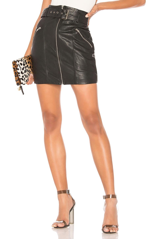 Bardot Mini Leather Skirt in Black