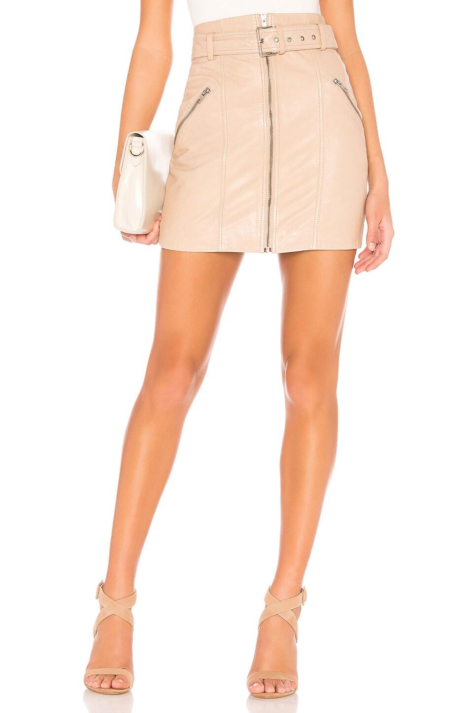 Bardot Mini Leather Skirt in Nude