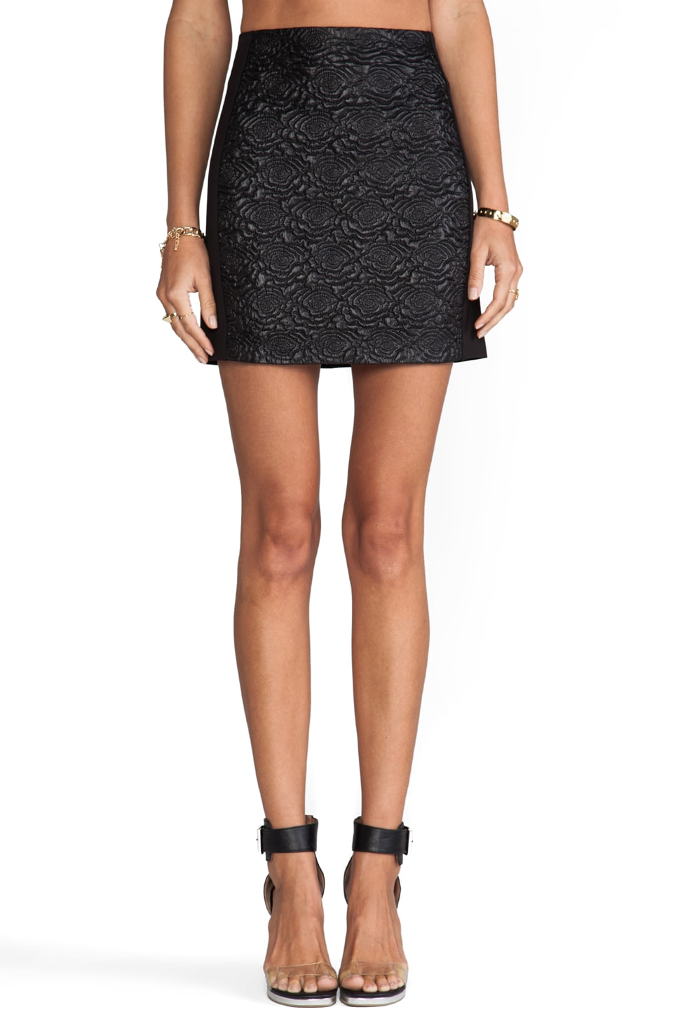 Bardot Quilted Mini Skirt in Black