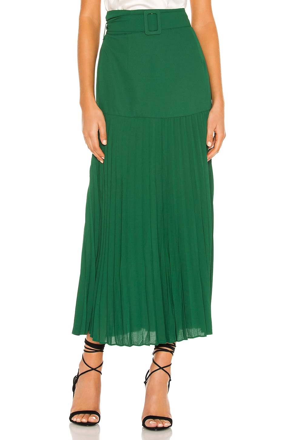 Bardot Buckle Pleated Skirt in Dark Green