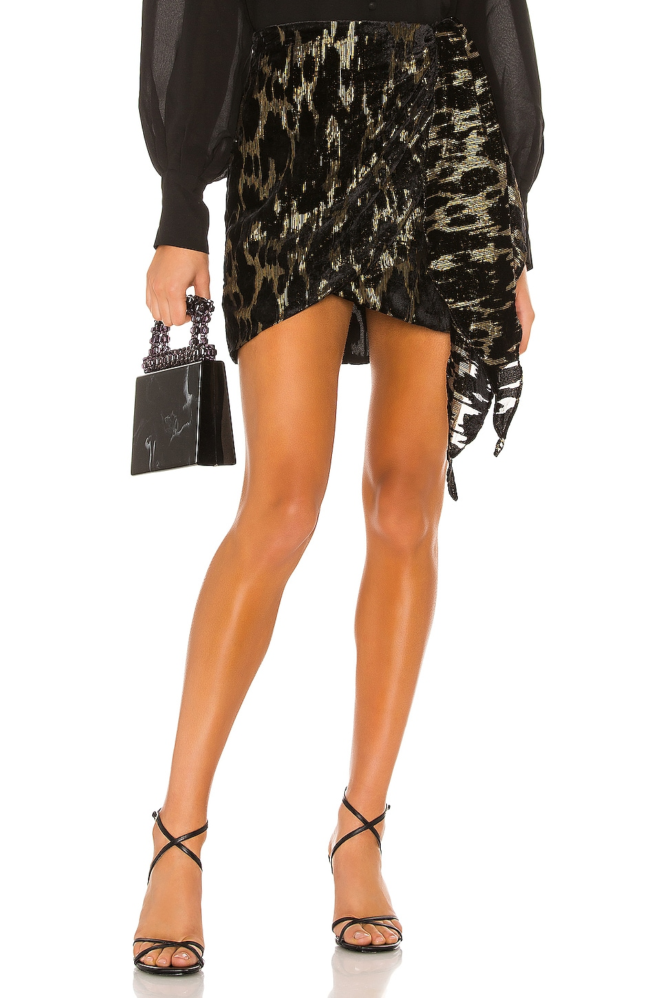 Bardot Ariella Mini Skirt in Lurex Leo