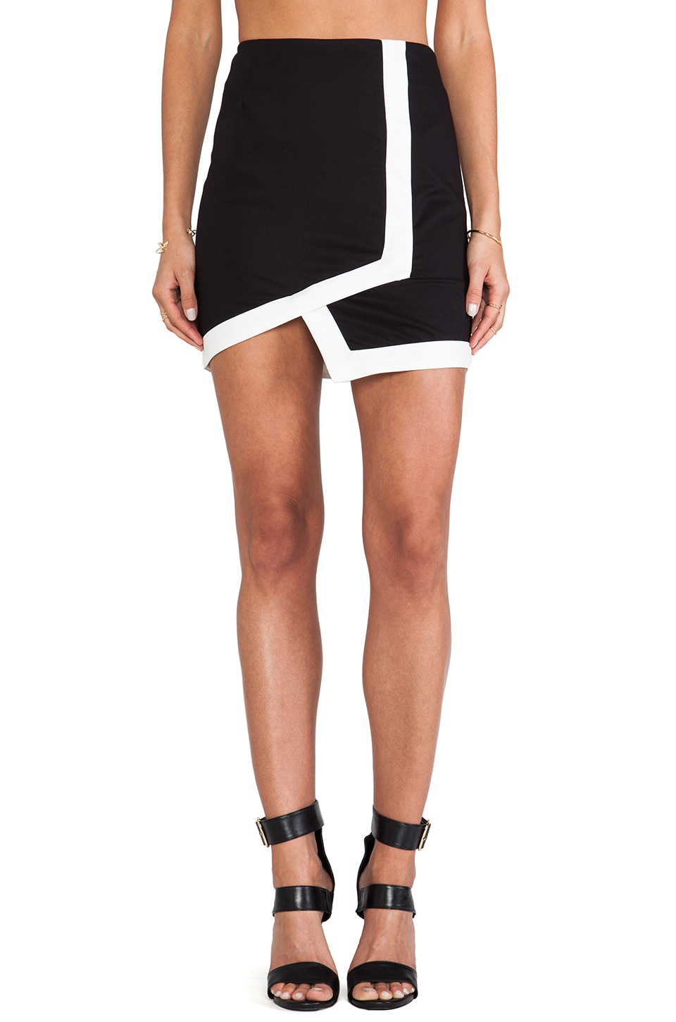 Bardot Nitro Asymmetrical Skirt in Black & White