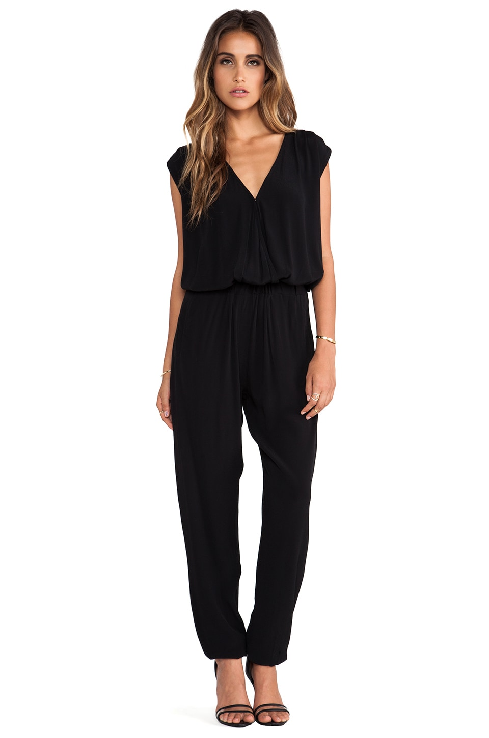 Bardot Wrap Front Jumpsuit in Black