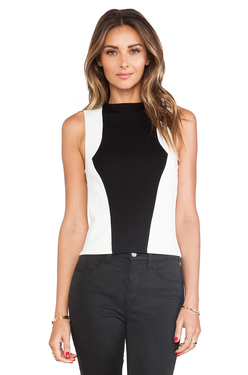 Bardot Sporty Ponti Crop Top in Black/White