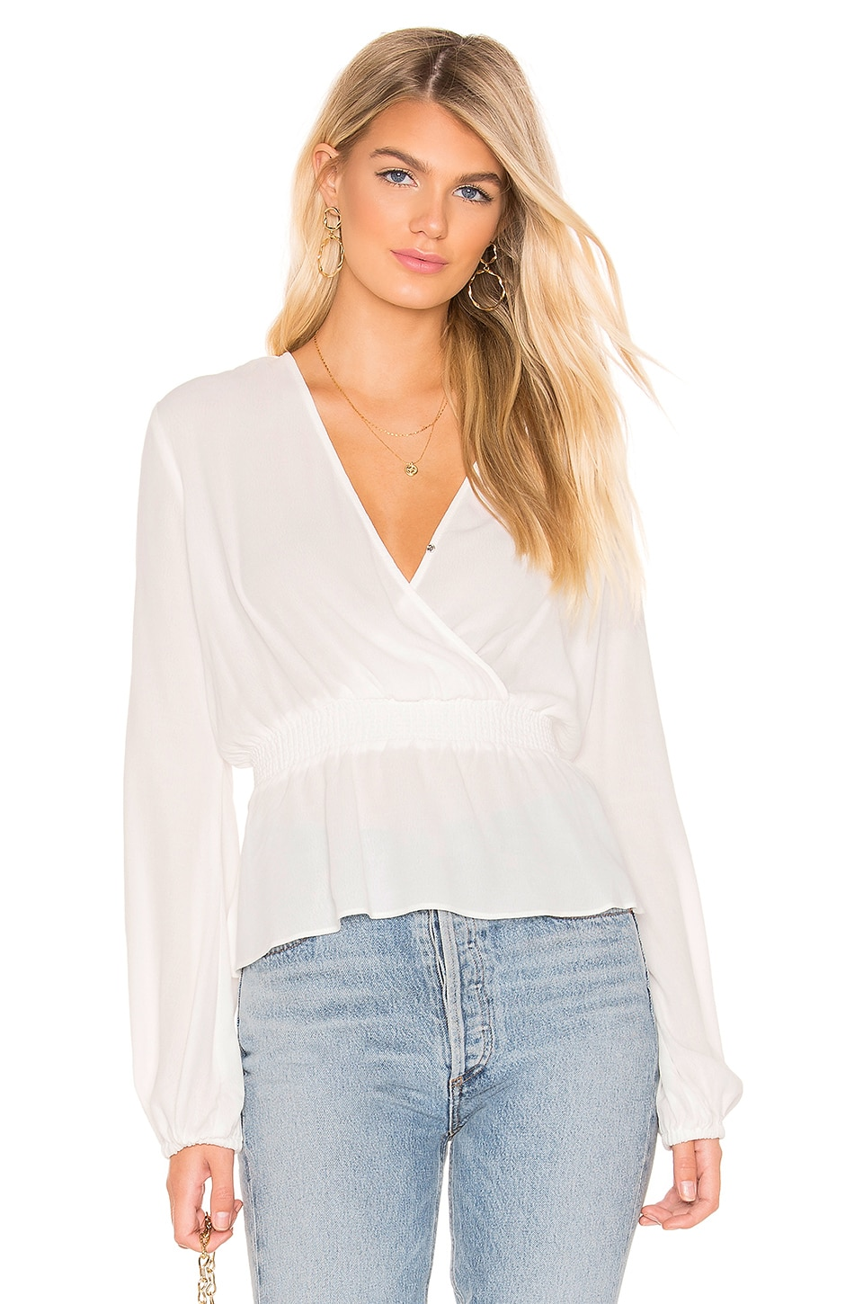 Bardot Shirred Blouse en Ivory