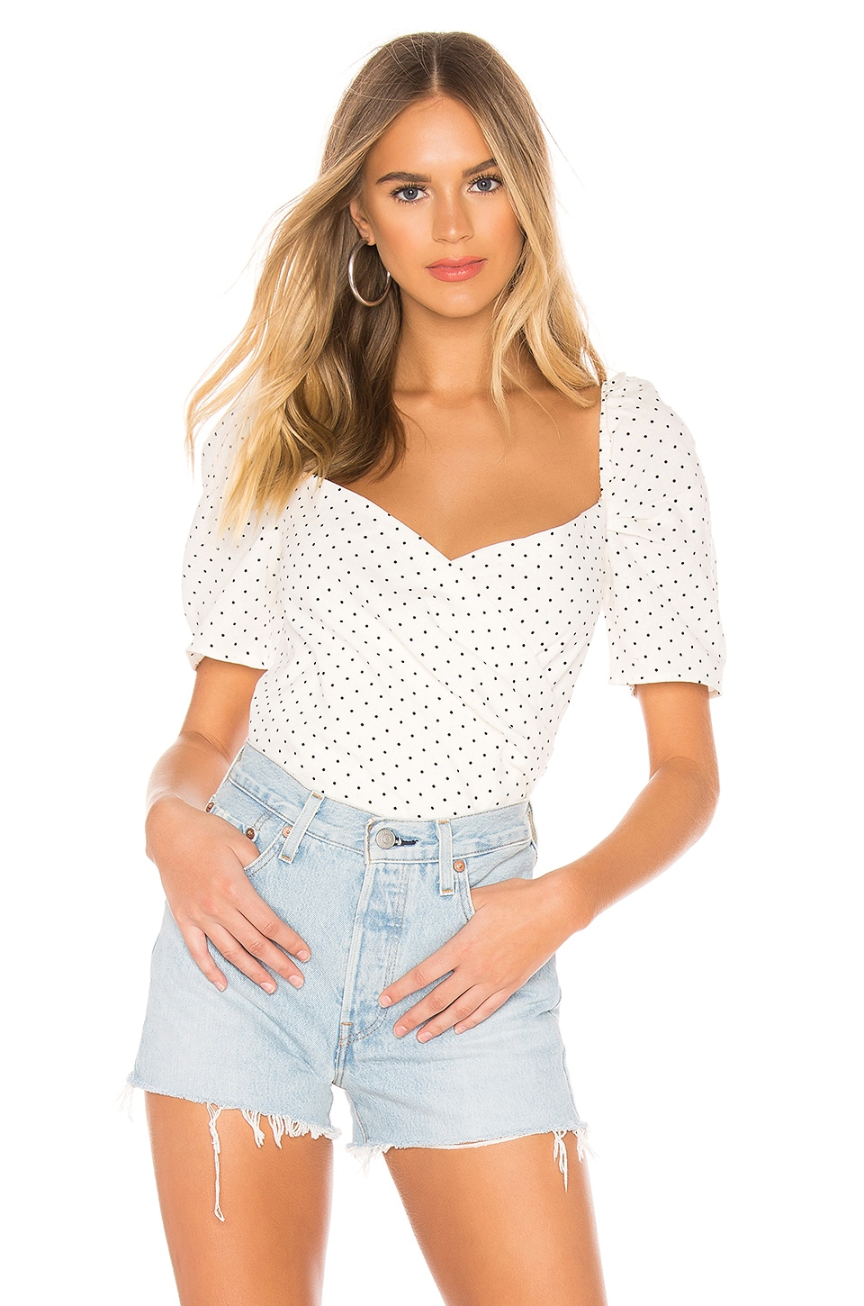 Bardot Button Back Top in Oxford Spot
