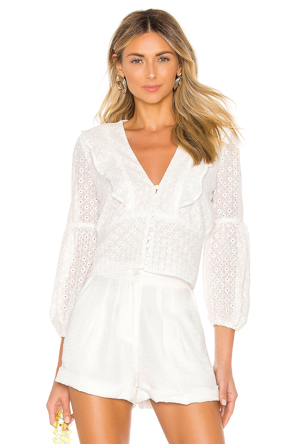 Bardot Embroidery Blouse in Ivory