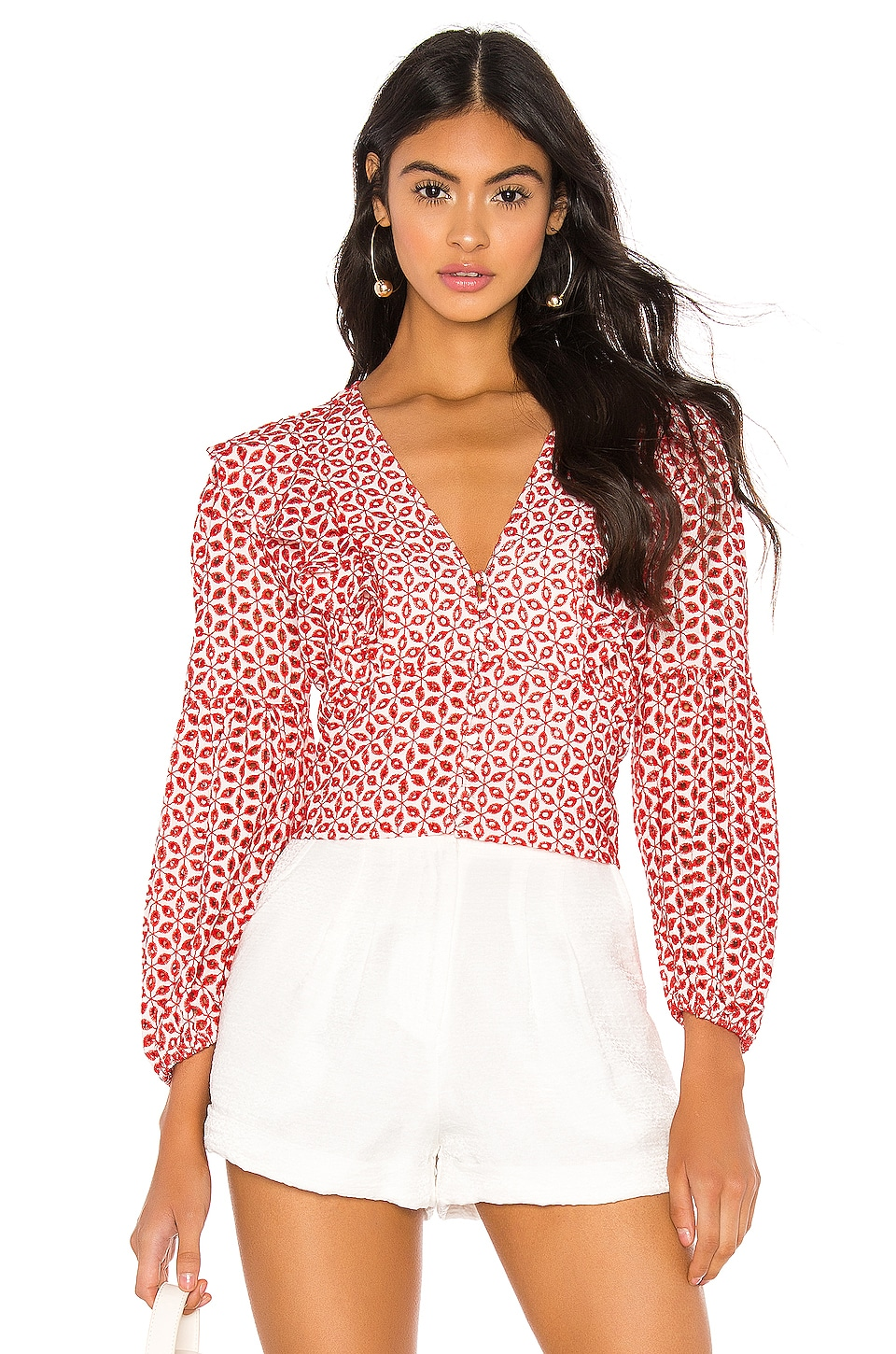 Bardot Camille Blouse in Deep Red