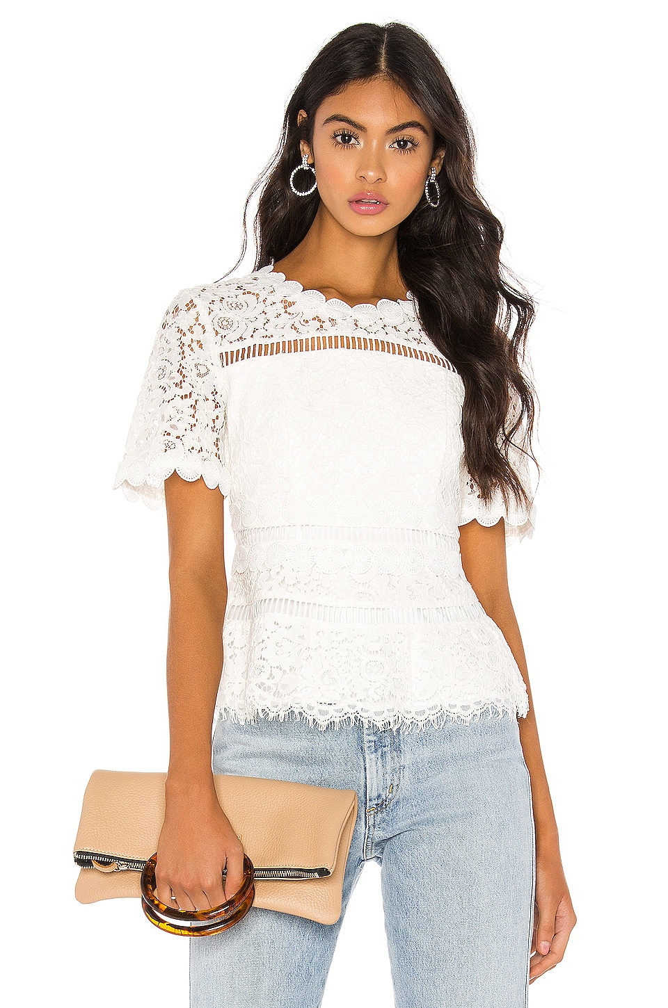 Bardot Eloise Lace Top in Ivory