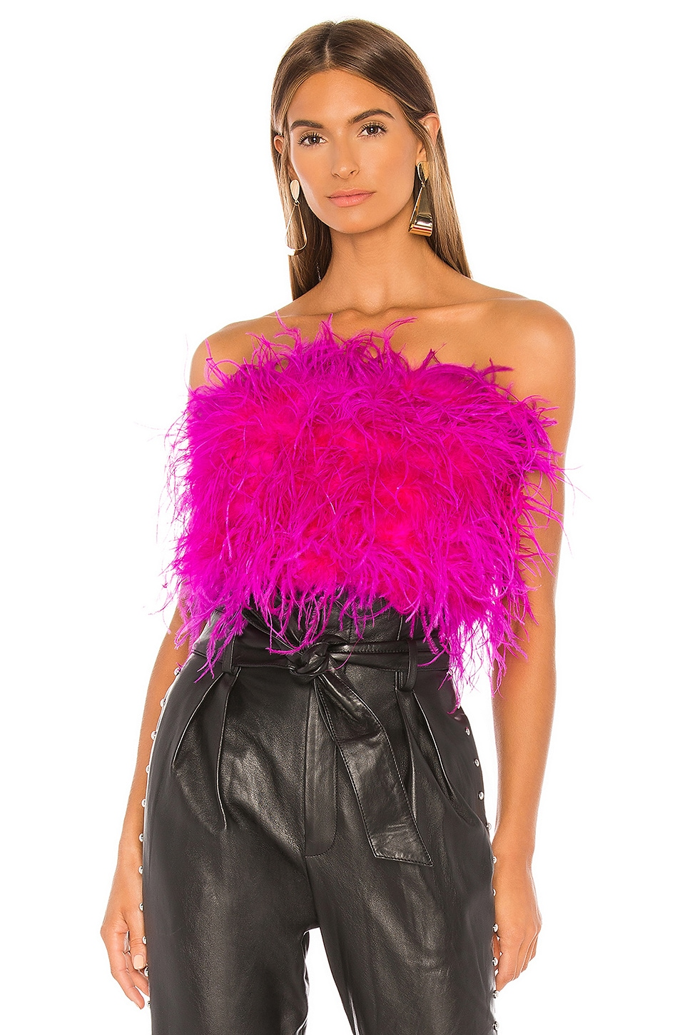 Bardot Feather Bustier in Pink Shock
