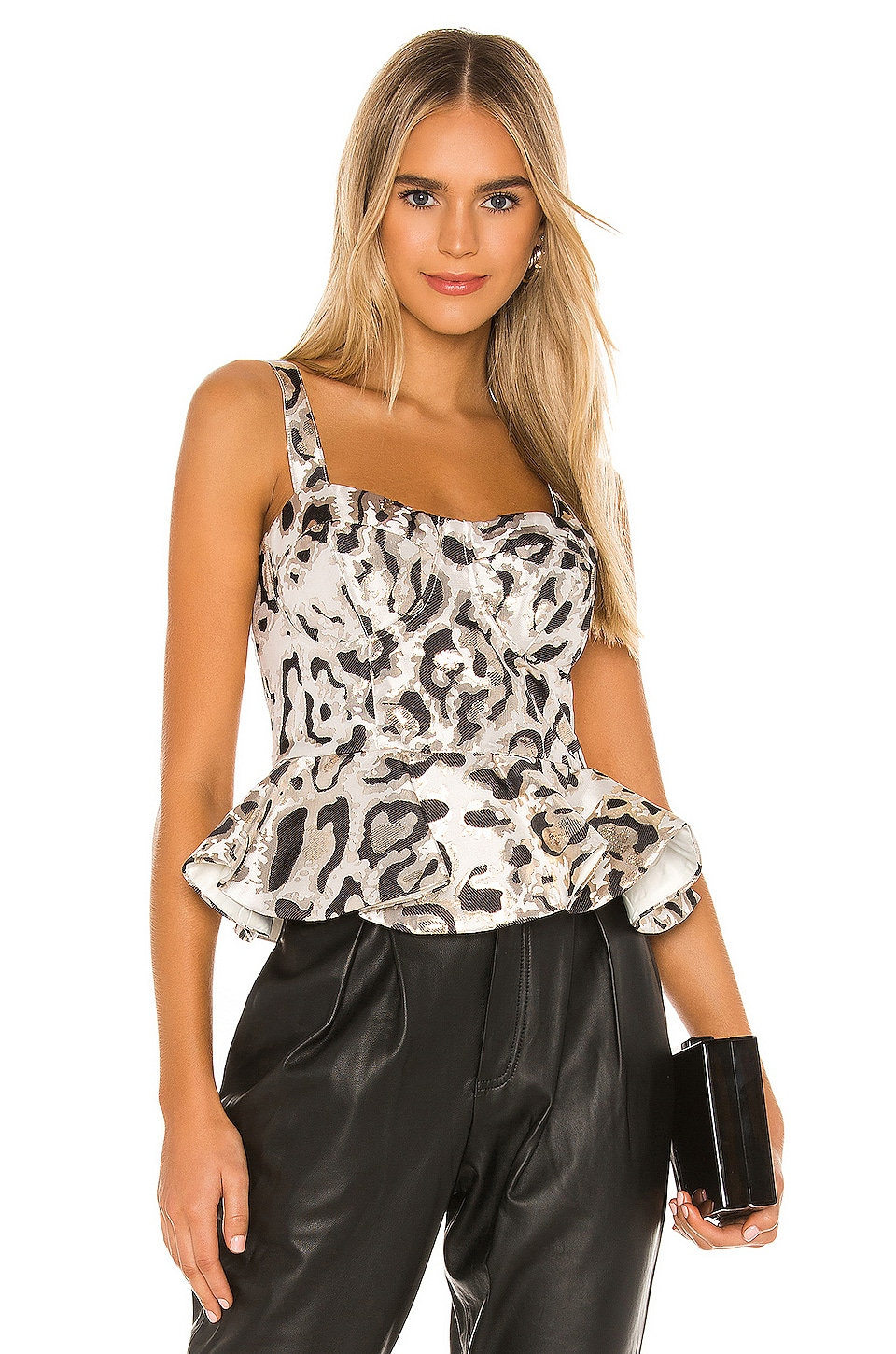 Bardot Jacquard Bustier in Animal