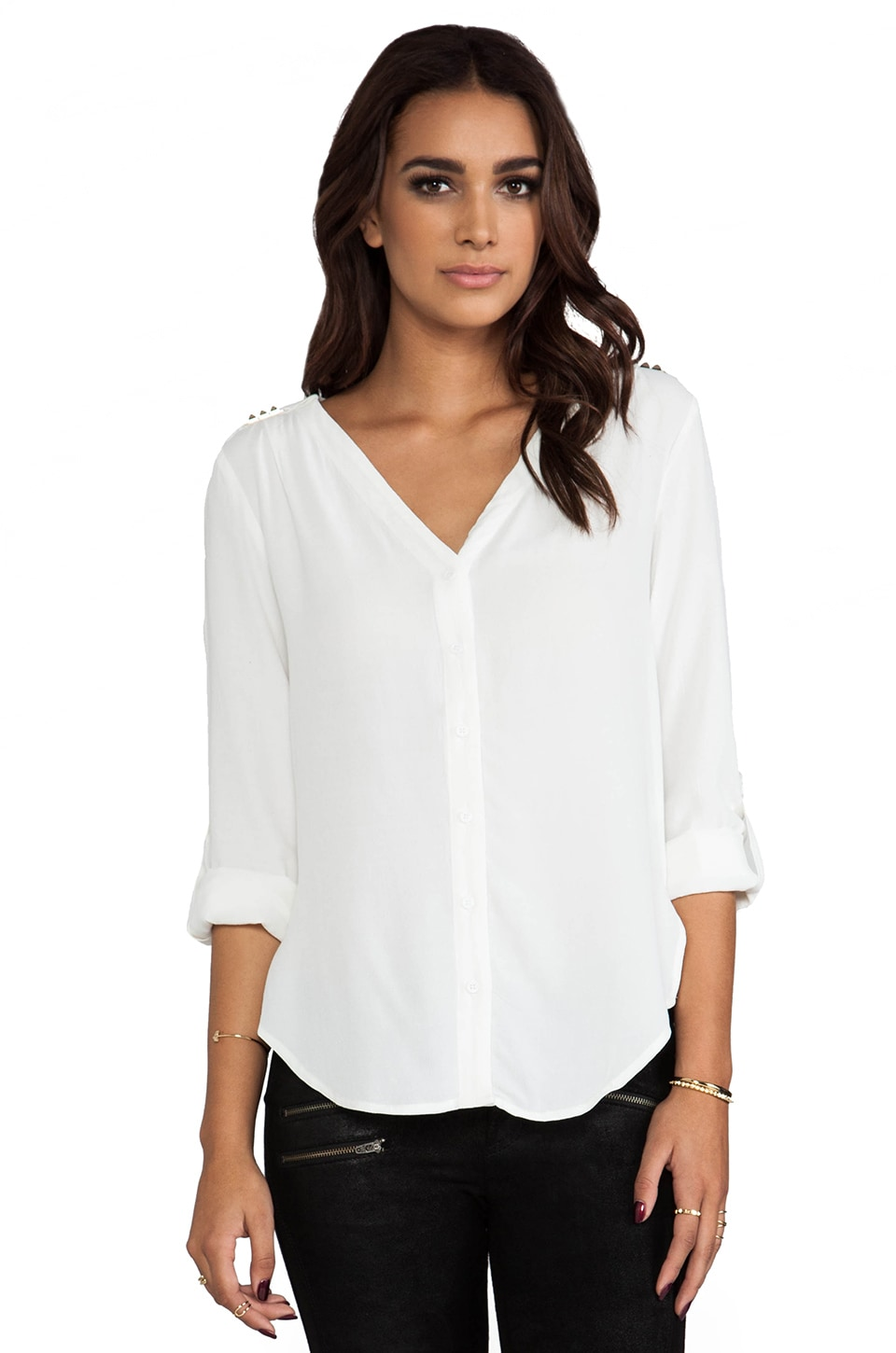 Bardot Studded Button Down Blouse in White