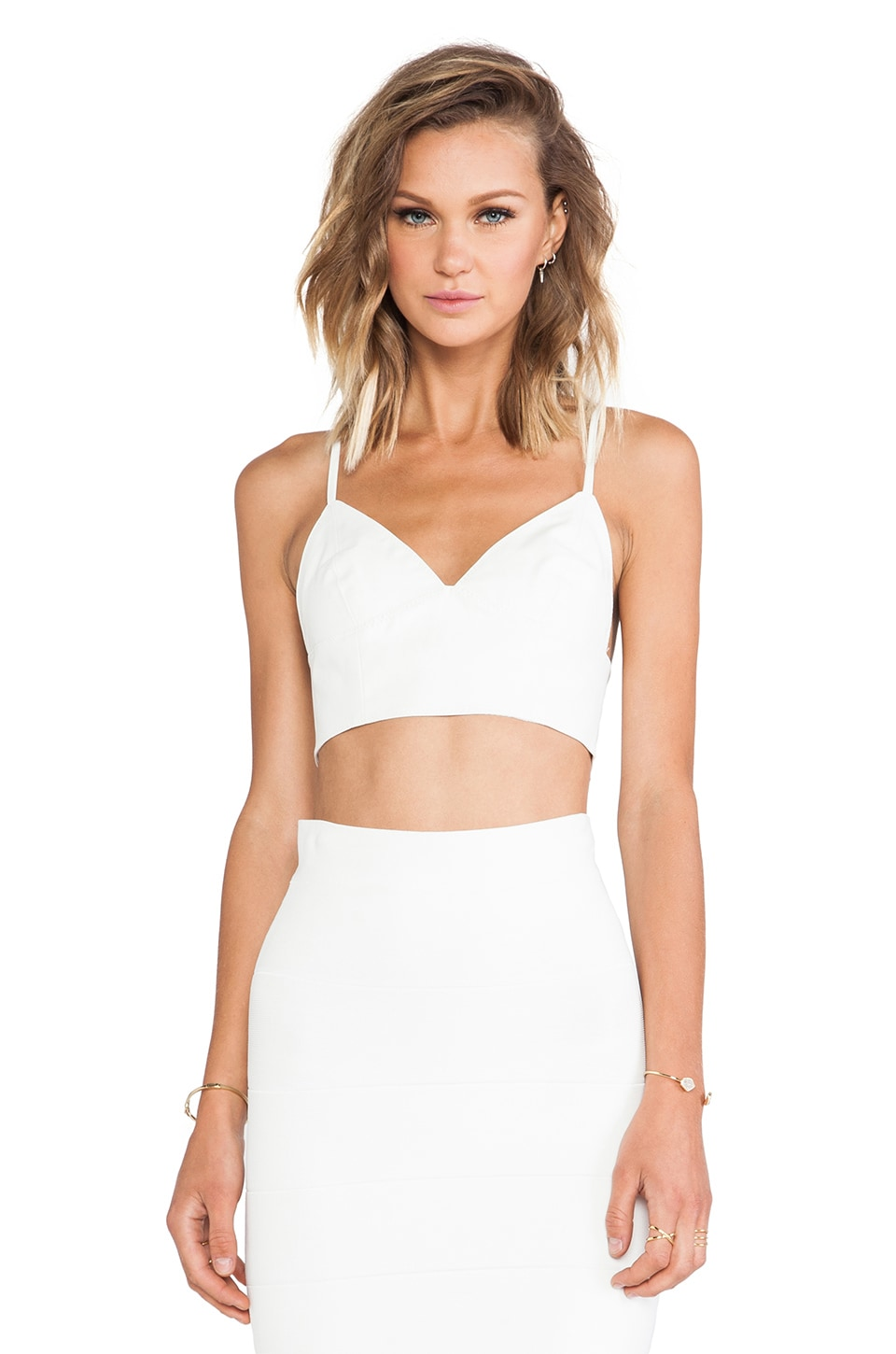 Bardot Leather Look Bralette in White