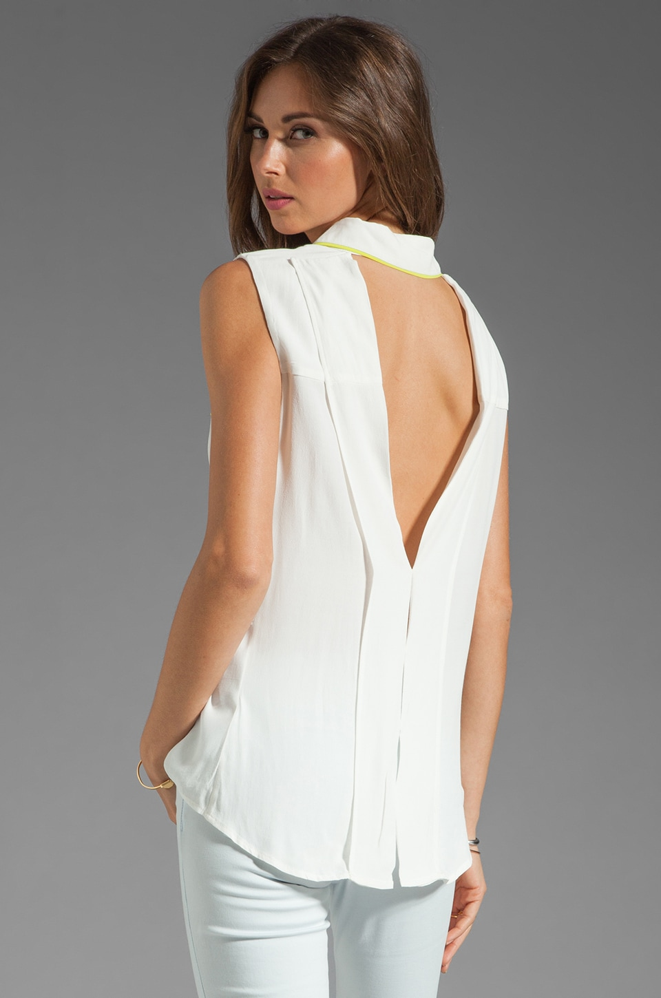 Bardot Piper Fold Back Shirt in White