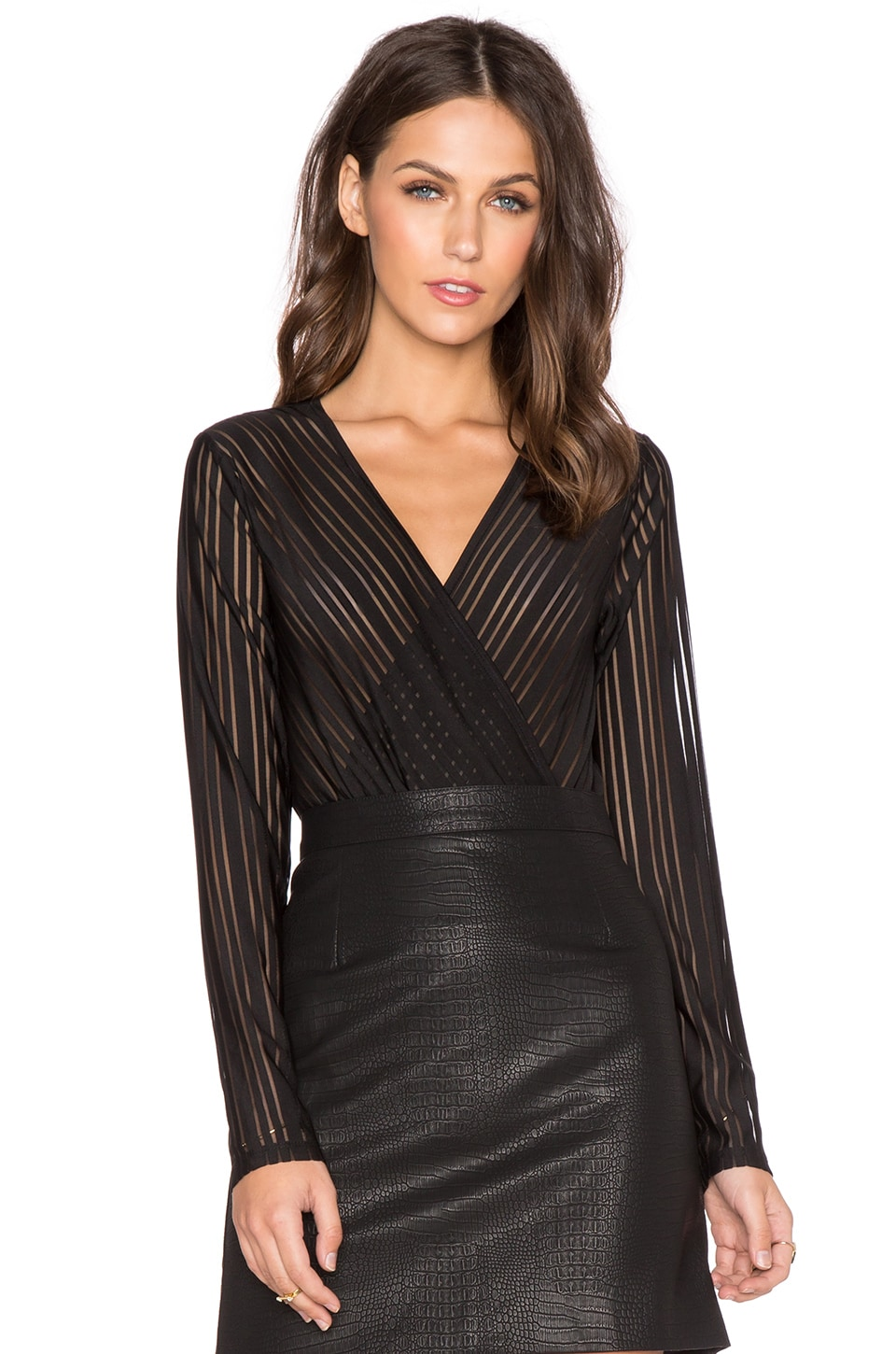 Bardot Stripe Bodysuit in Black