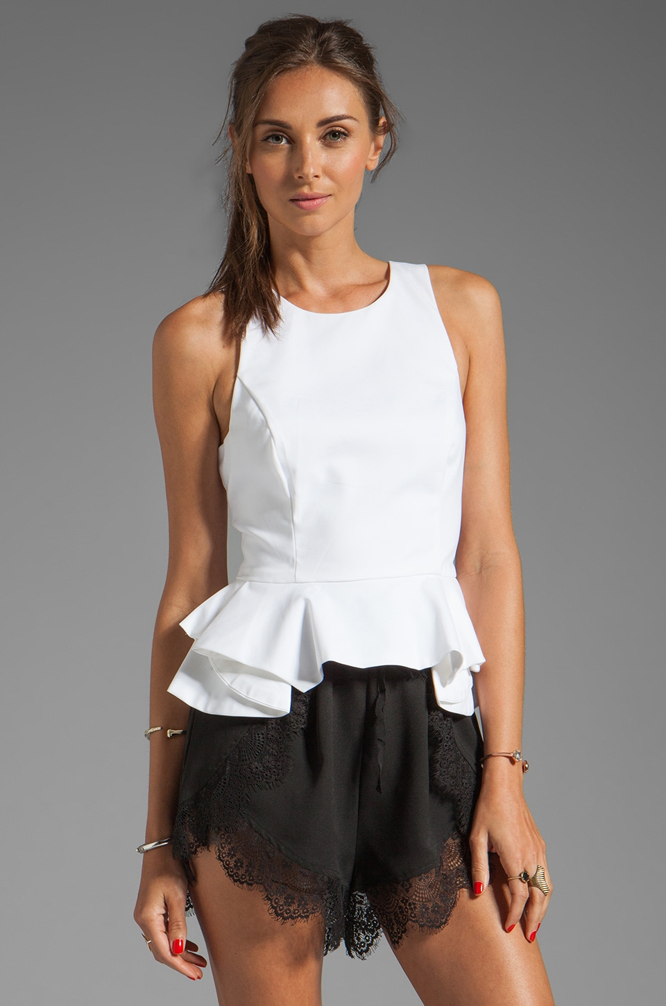 Bardot Racer Peplum Top in Ivory