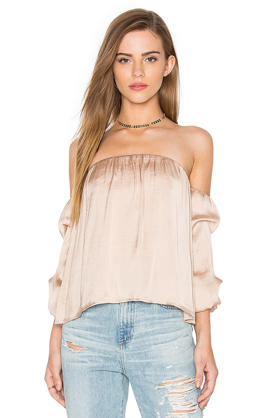 Bardot Caught Sleeve Bustier Top in Pebble