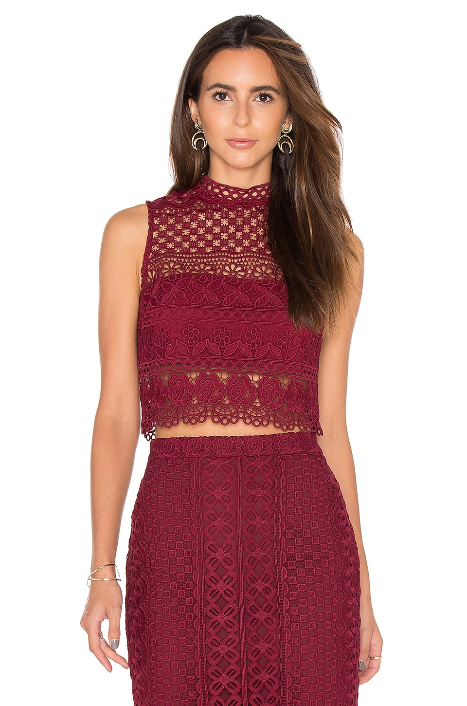 Bardot Calista Lace Top in Wine
