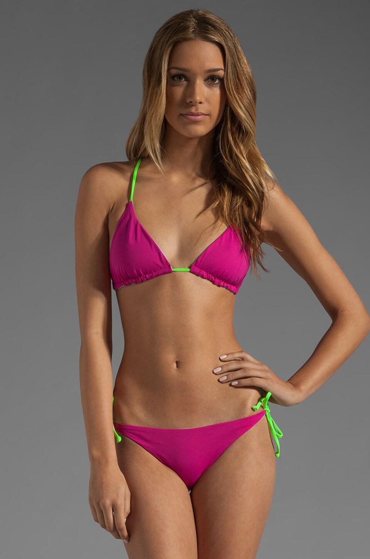 Basta Surf Raglan Reversible Bikini Top in Fuchsia/Peri