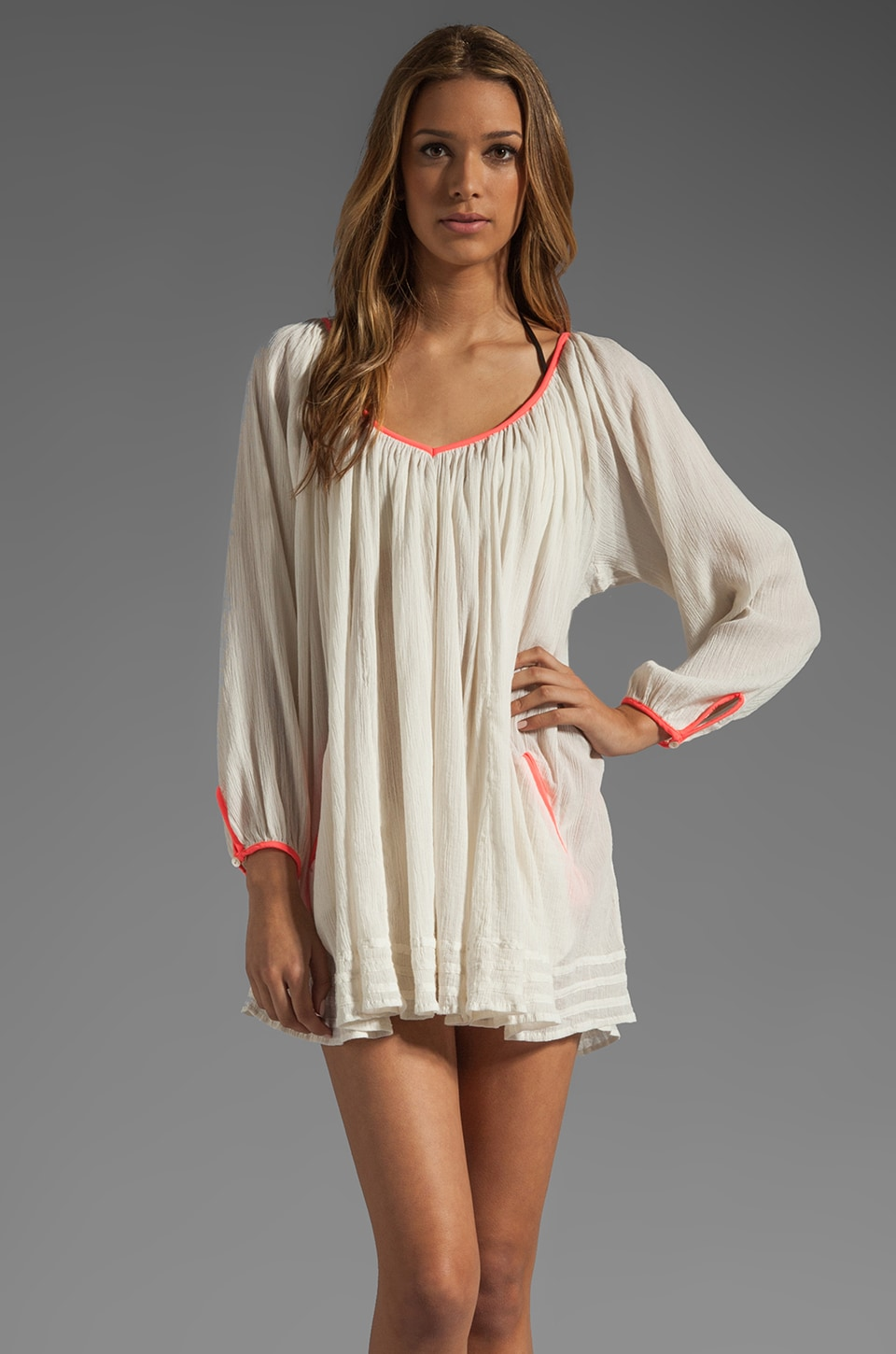 Basta Surf Capri Mini Dress in Ivory/Coral
