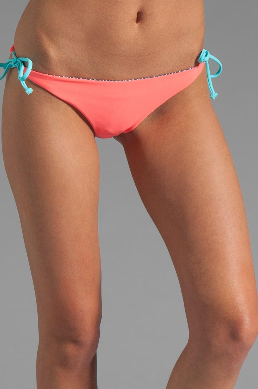 Basta Surf Reversible Raglan Classic String Bikini Bottom in Bright Coral/Zebra