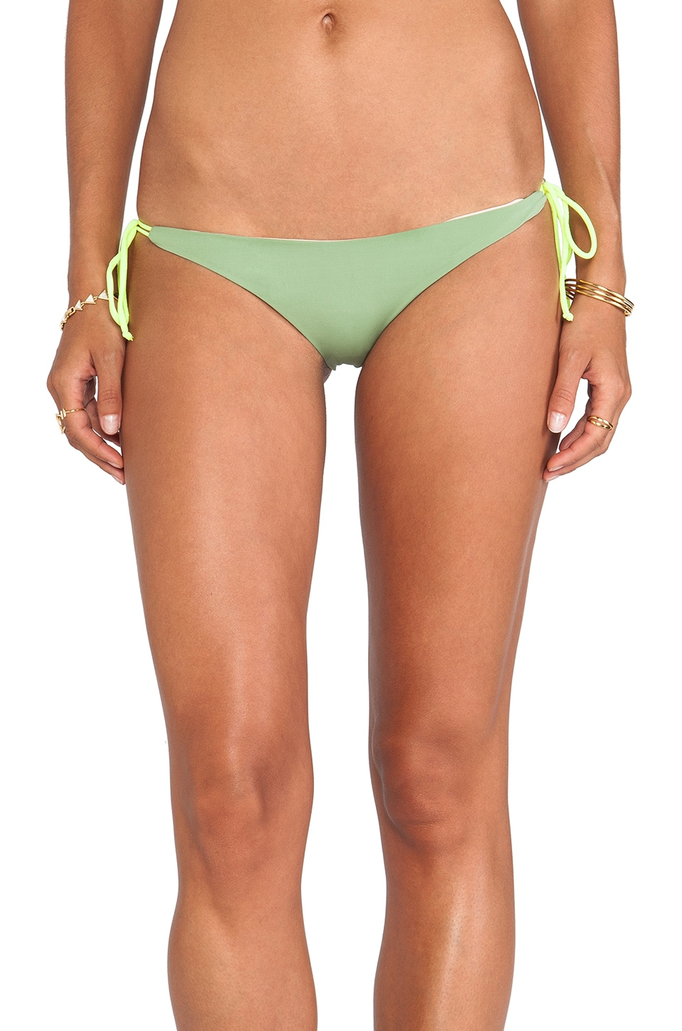 Basta Surf Kikitas Reversible Ruched Bottom in Army/New Nude/Neon Yellow