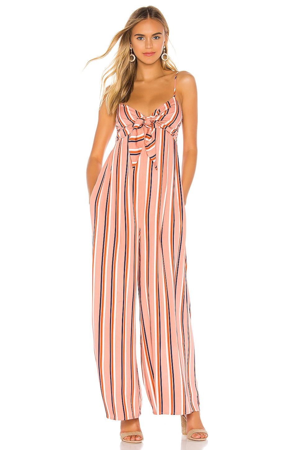 BB Dakota Jack by BB Dakota Just My Stripe Jumpsuit in Rosette Pink