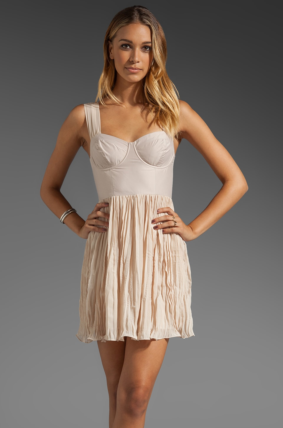 BB Dakota Abella Chiffon Dress in Froth Beige